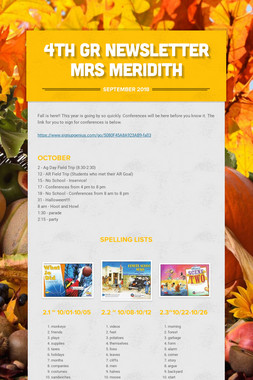 4th Gr Newsletter Mrs Meridith