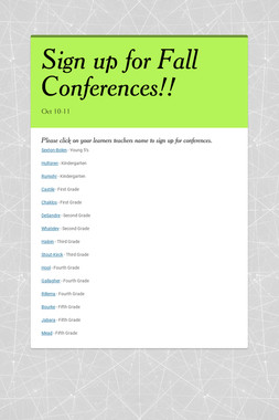 Sign up for Fall Conferences!!