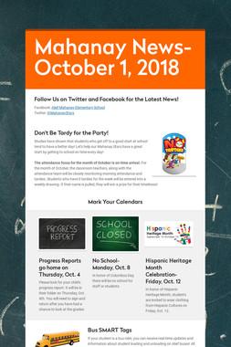 Mahanay News- October 1, 2018