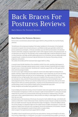Back Braces For Postures Reviews