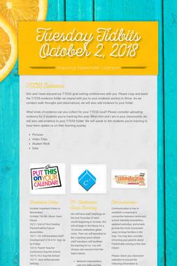 Tuesday Tidbits October 2,  2018