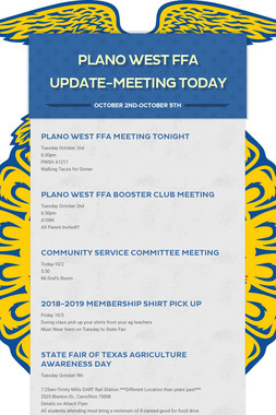 Plano West FFA Update-MEETING TODAY