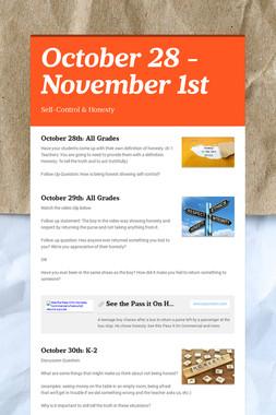 October 28 - November 1st