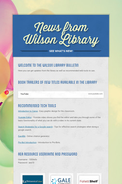 News from Wilson Library