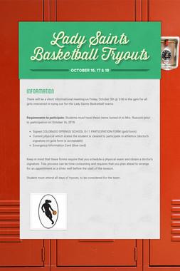 Lady Saints Basketball Tryouts