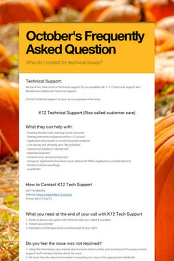 October's Frequently Asked Question