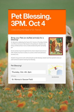 Pet Blessing. 3PM. Oct 4