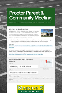 Proctor Parent & Community Meeting