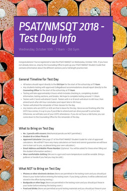 PSAT/NMSQT 2018 - Test Day Info