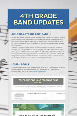 4th Grade Band Updates