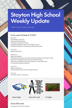 Stayton High School Weekly Update