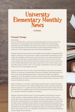 University Elementary Monthly News