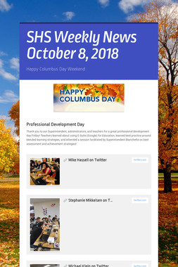 SHS Weekly News October 8, 2018