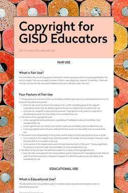Copyright for GISD Educators