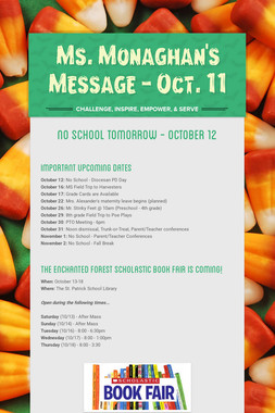 Ms. Monaghan's Message - Oct. 11