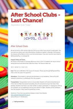 After School Clubs - Last Chance!