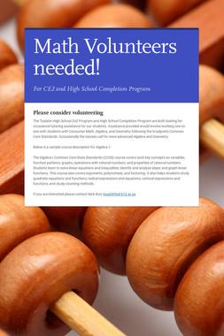 More Volunteers needed - June 7th