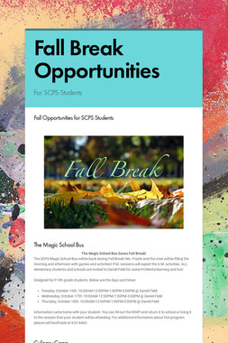 Fall Break Opportunities