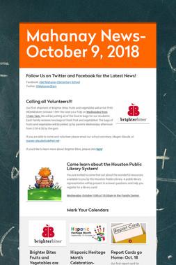 Mahanay News- October 9, 2018