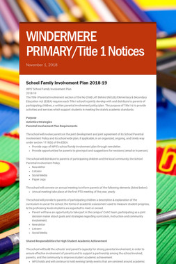 WINDERMERE PRIMARY/Title 1 Notices