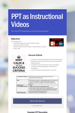 PPT as Instructional Videos