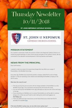 Thursday Newsletter 10/11/2018