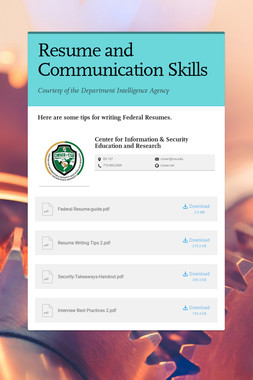 Resume and Communication Skills