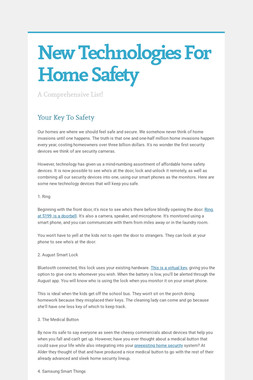 New Technologies For Home Safety
