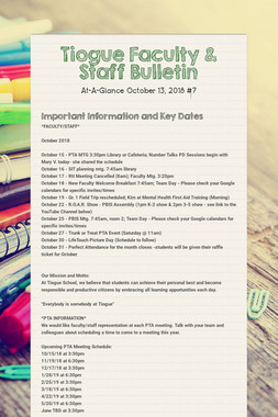 Tiogue Faculty & Staff Bulletin
