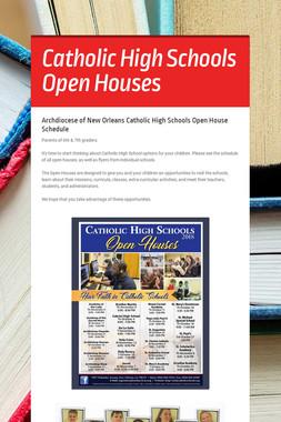 Catholic High Schools Open Houses