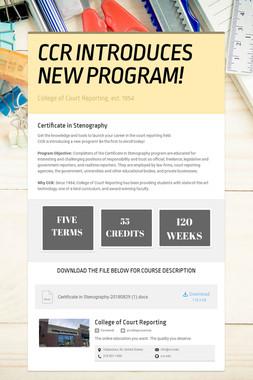 CCR INTRODUCES NEW PROGRAM!
