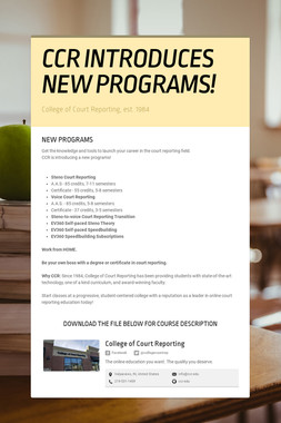 CCR INTRODUCES NEW PROGRAMS!