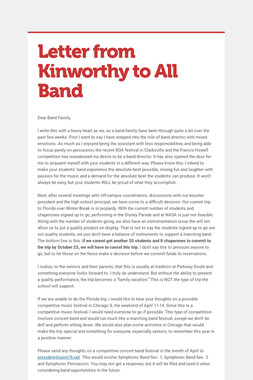 Letter from Kinworthy to All Band