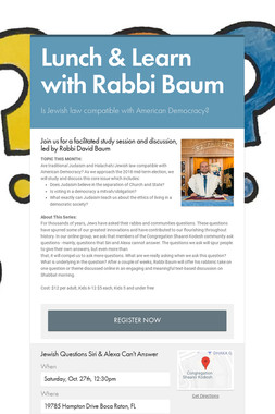 Lunch & Learn with Rabbi Baum