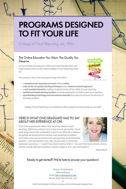 PROGRAMS DESIGNED TO FIT YOUR LIFE