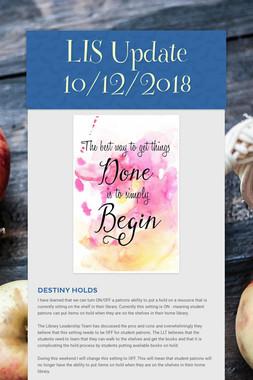LIS Update 10/12/2018