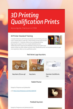 3D Printing Qualification Prints