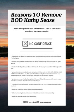 Reasons TO Remove BOD Kathy Sease