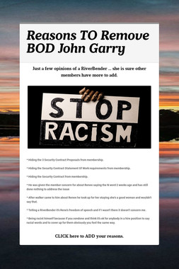 Reasons TO Remove BOD John Garry