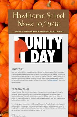 Hawthorne School News: 10/19/18
