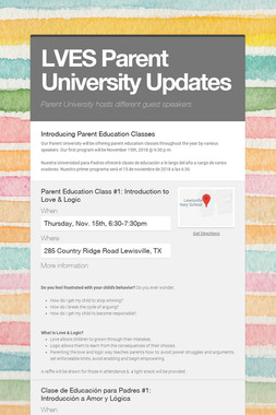 LVES Parent University Updates