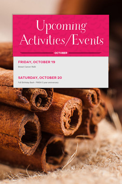 Upcoming Activities/Events