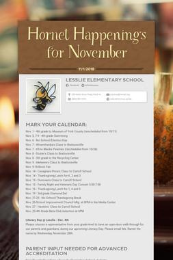 Hornet Happenings for November