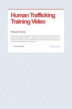 Human Trafficking Training Video