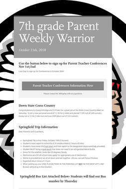 7th grade Parent Weekly Warrior