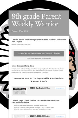 8th grade Parent Weekly Warrior