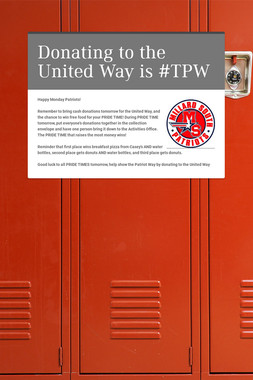 Donating to the United Way is #TPW