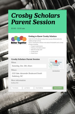 Crosby Scholars Parent Session