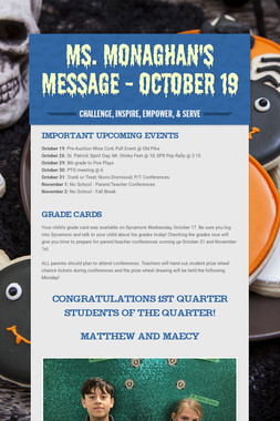 Ms. Monaghan's Message - October 19