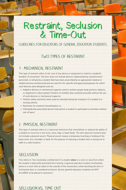 Restraint, Seclusion & Time-Out